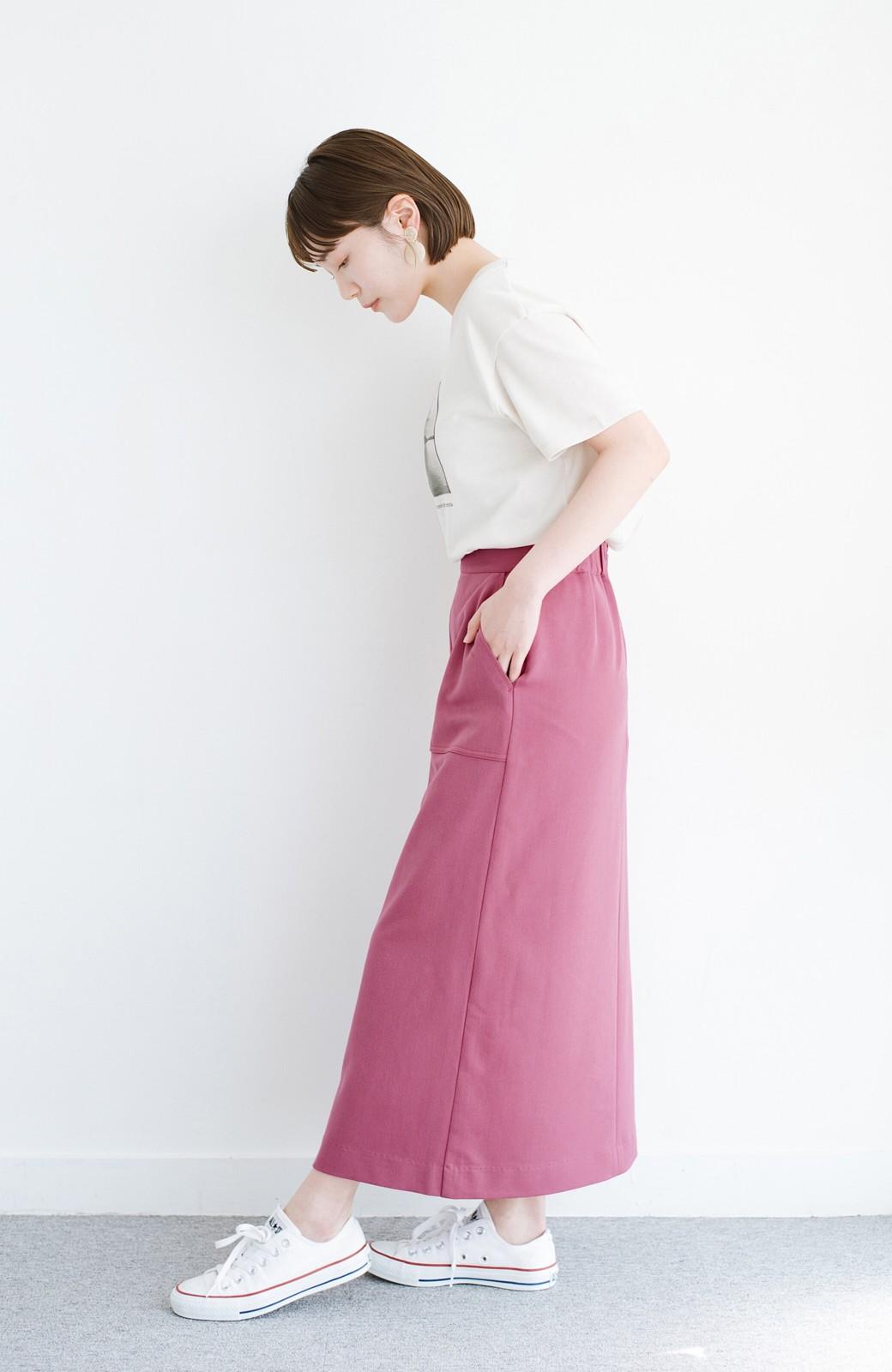 haco! カジュアルにもきれいめにも着られて便利 スリットが女っぽいセミタイトスカート <ピンク>の商品写真12