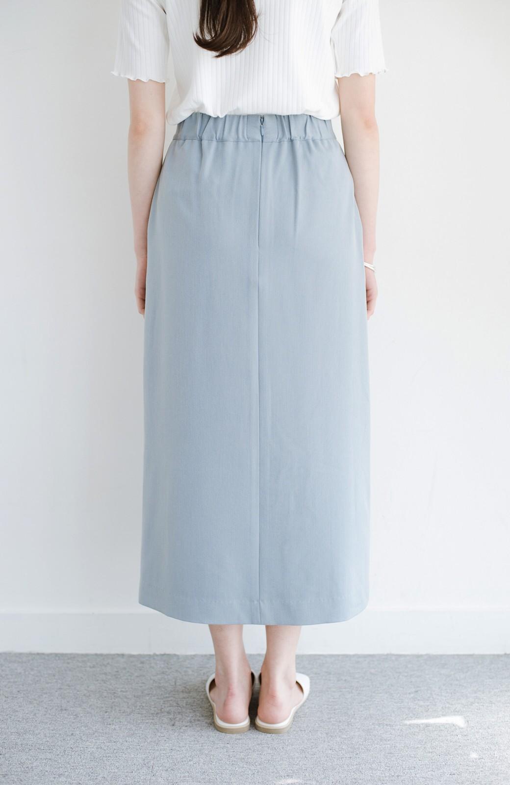 haco! カジュアルにもきれいめにも着られて便利 スリットが女っぽいセミタイトスカート <ブルー>の商品写真5