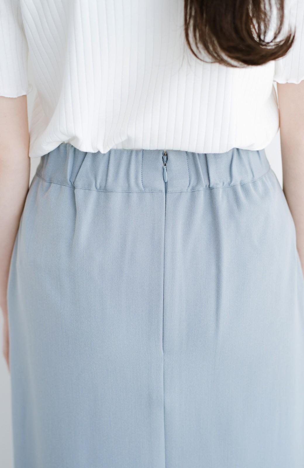 haco! カジュアルにもきれいめにも着られて便利 スリットが女っぽいセミタイトスカート <ブルー>の商品写真7