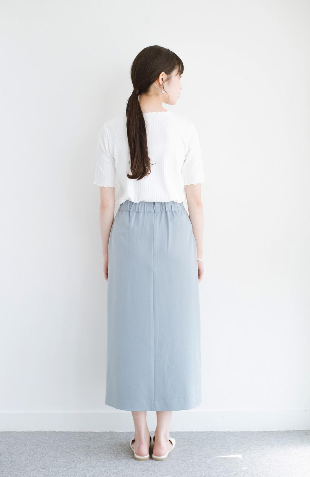 haco! カジュアルにもきれいめにも着られて便利 スリットが女っぽいセミタイトスカート <ブルー>の商品写真13