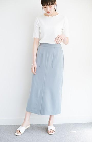 haco! カジュアルにもきれいめにも着られて便利 スリットが女っぽいセミタイトスカート <ブルー>の商品写真