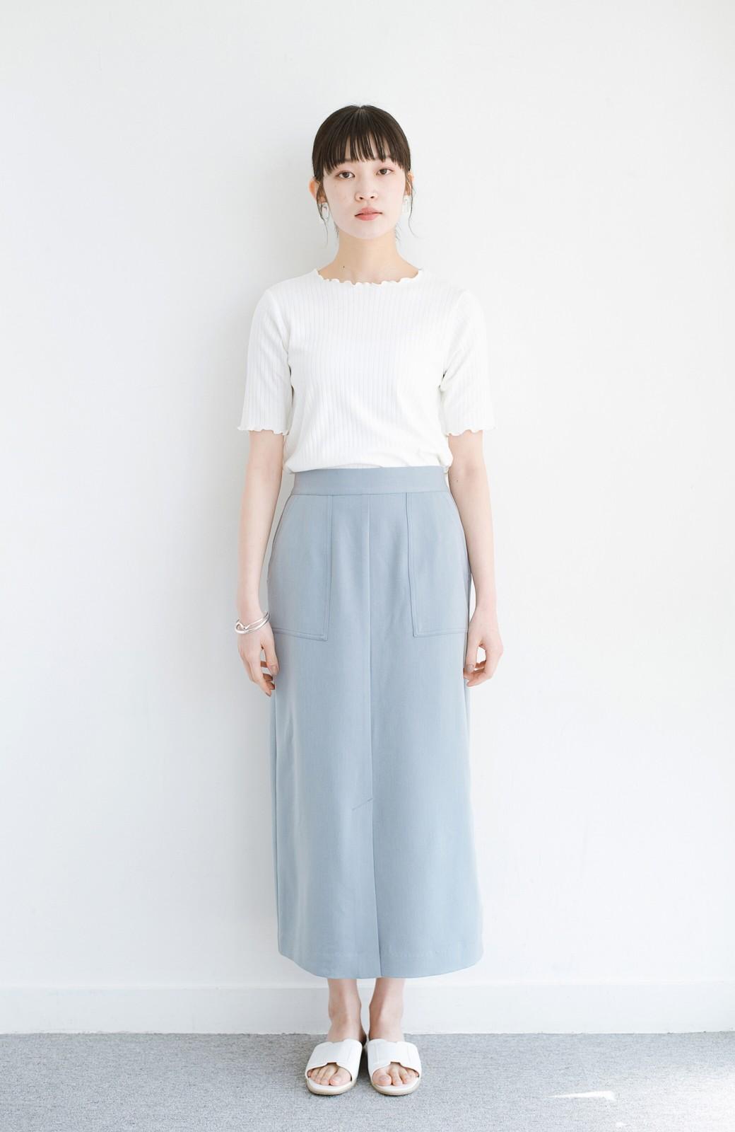 haco! カジュアルにもきれいめにも着られて便利 スリットが女っぽいセミタイトスカート <ブルー>の商品写真9