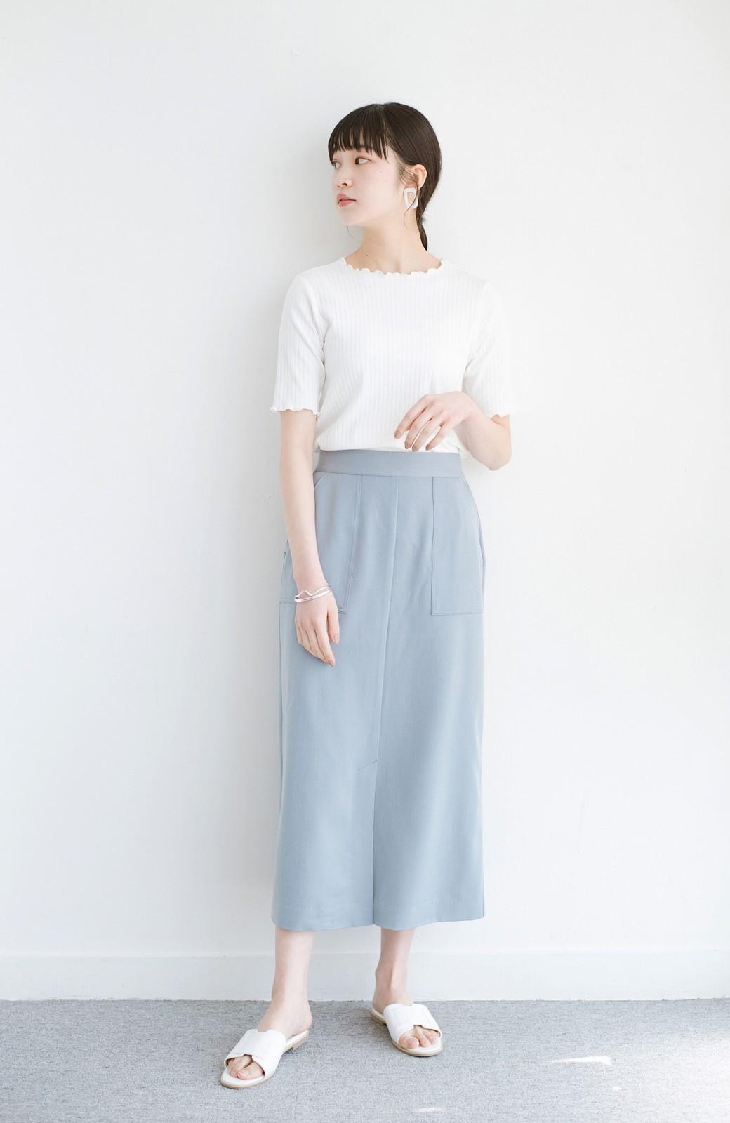 haco! カジュアルにもきれいめにも着られて便利 スリットが女っぽいセミタイトスカート <ブルー>の商品写真10