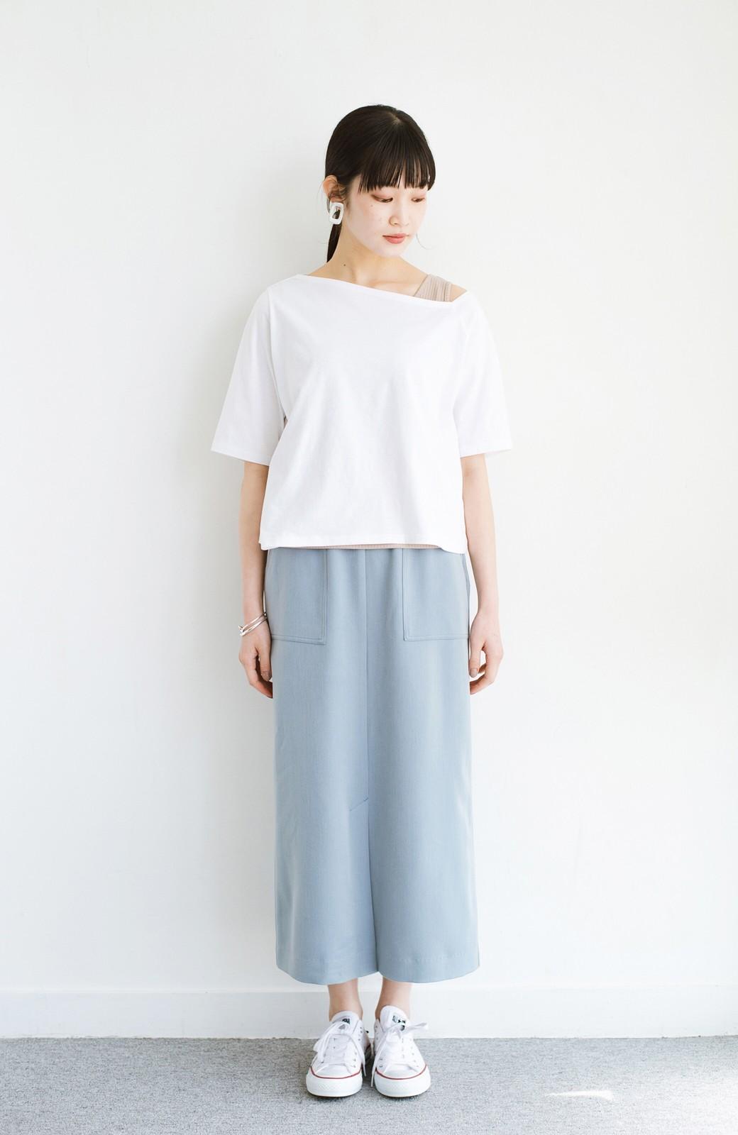 haco! カジュアルにもきれいめにも着られて便利 スリットが女っぽいセミタイトスカート <ブルー>の商品写真11