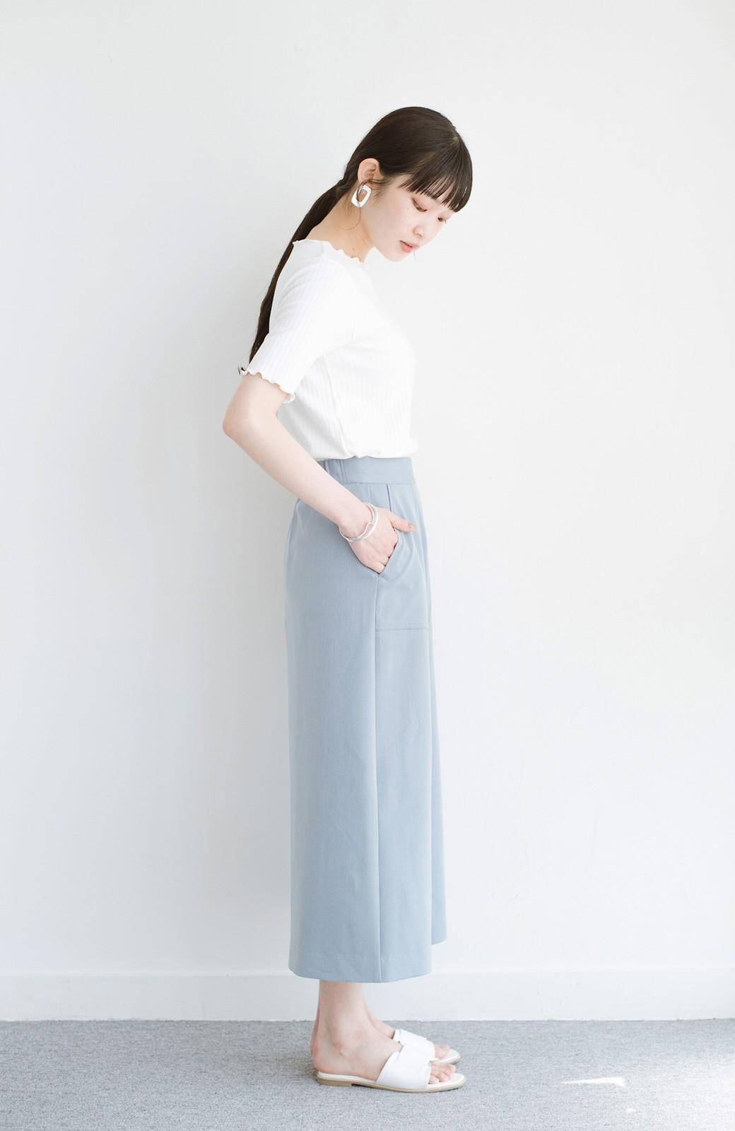 haco! カジュアルにもきれいめにも着られて便利 スリットが女っぽいセミタイトスカート <ブルー>の商品写真12