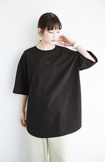 haco! LadyLee シンプルで使いやすい刺しゅうロゴTシャツ <ブラック>の商品写真