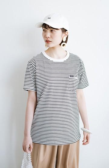 haco! LadyLee なにかとベンリな胸ポケットTシャツ <ホワイト×ブラック>の商品写真