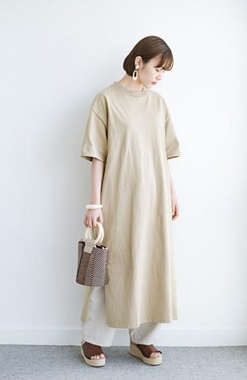 haco! 一枚でサマになる!しっかり素材できれいシルエットのTシャツワンピース by Healthknit <ベージュ>の商品写真