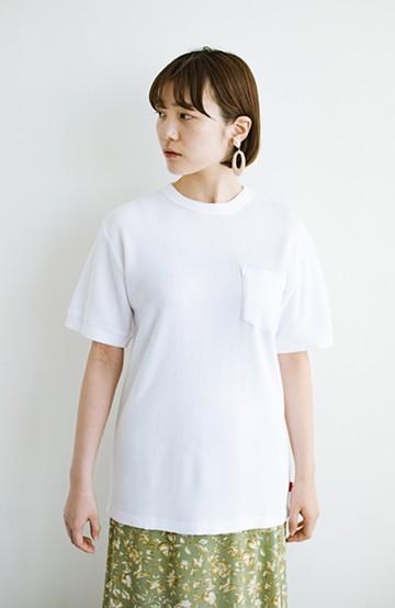 haco! 【抗菌・防臭機能付き】ワッフル素材のクルーネックTシャツby Healthknit  <オフホワイト>の商品写真