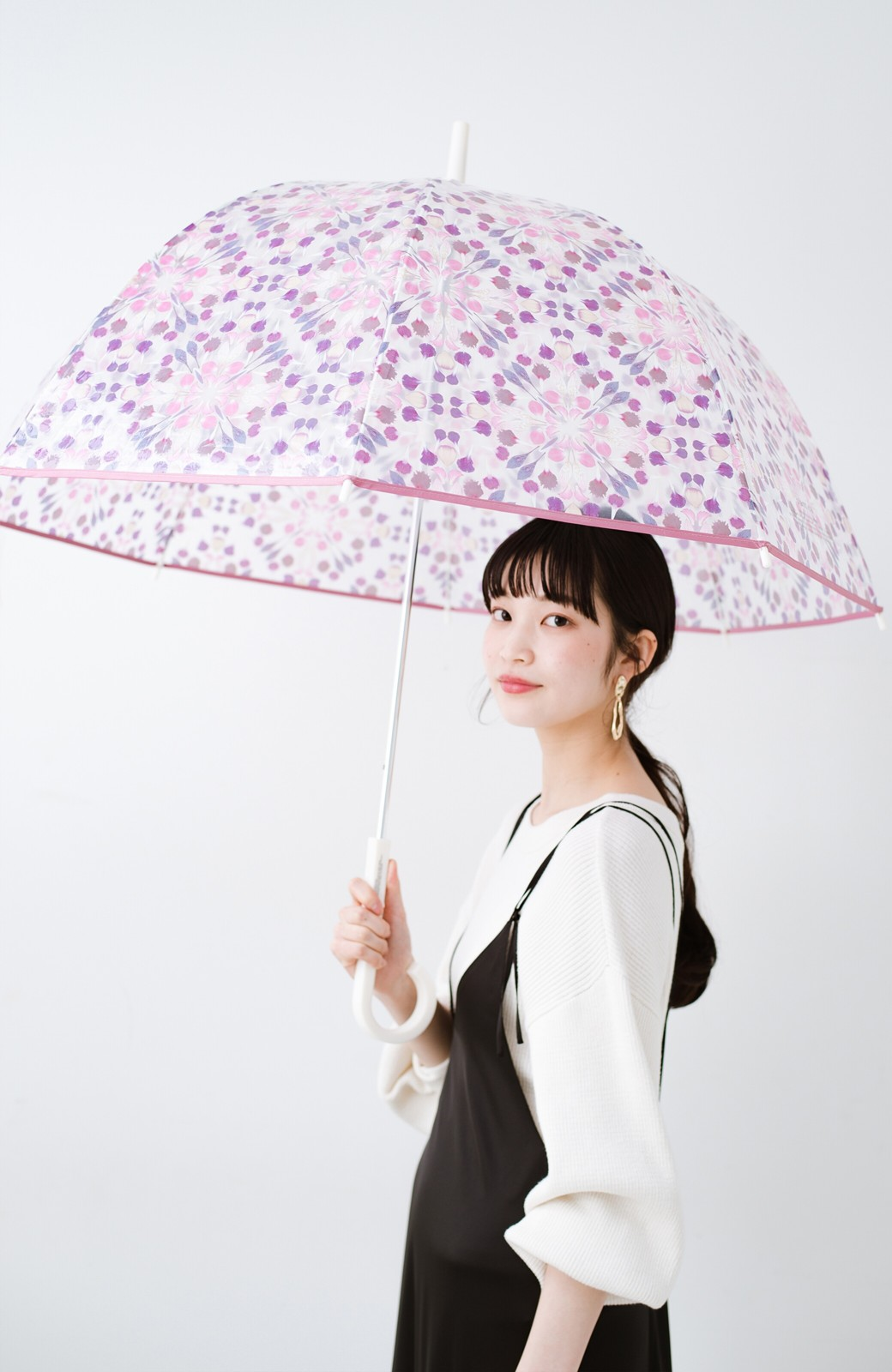 haco! Wpc.×plantica ドーム型がかわいい プラスティックアンブレラ フラワー <ピンク>の商品写真1