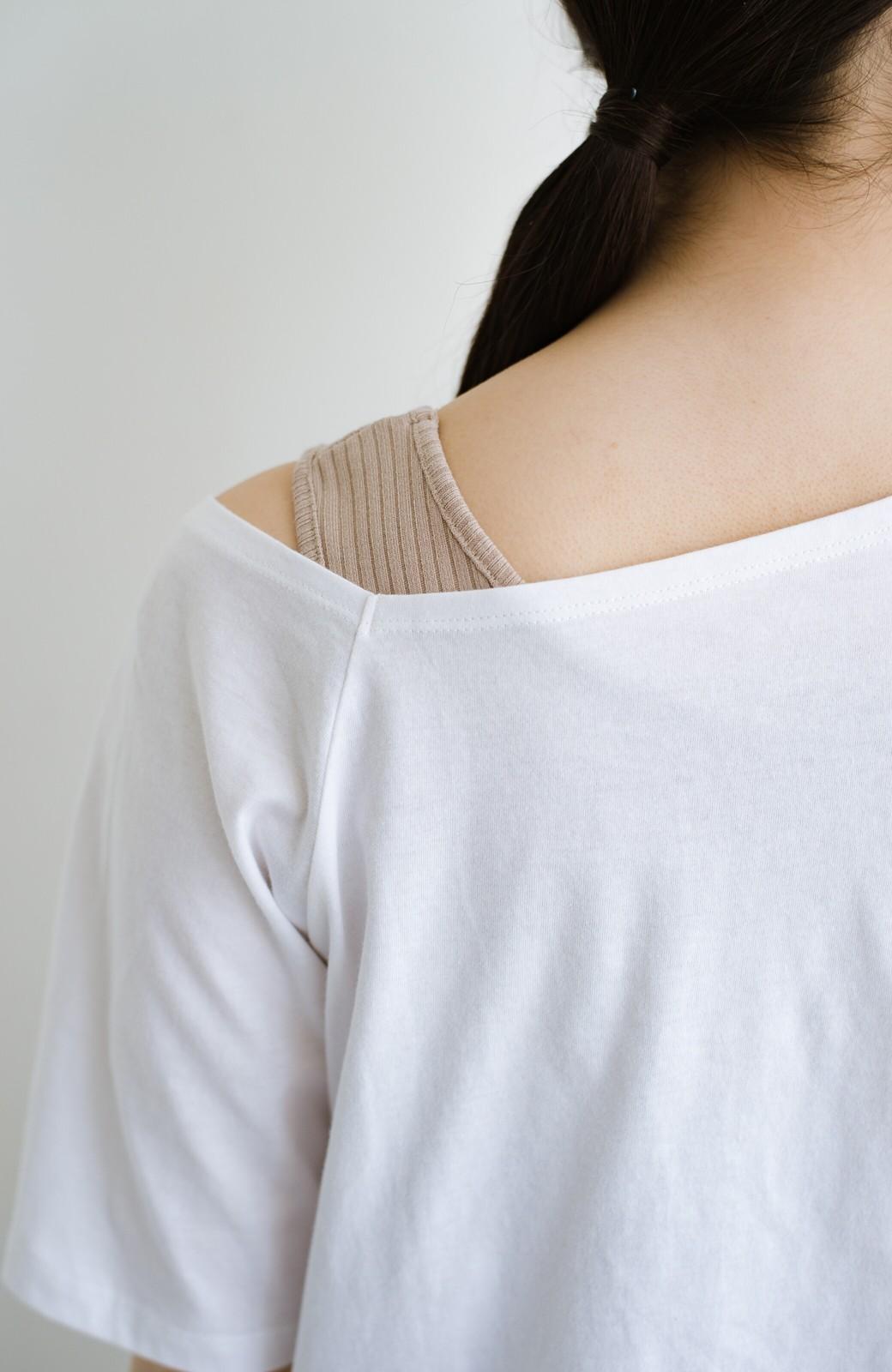 haco! 気になっていたあのデザインを取り入れやすく!こなれ衿Tシャツとタンクトップのセット <ホワイト>の商品写真5