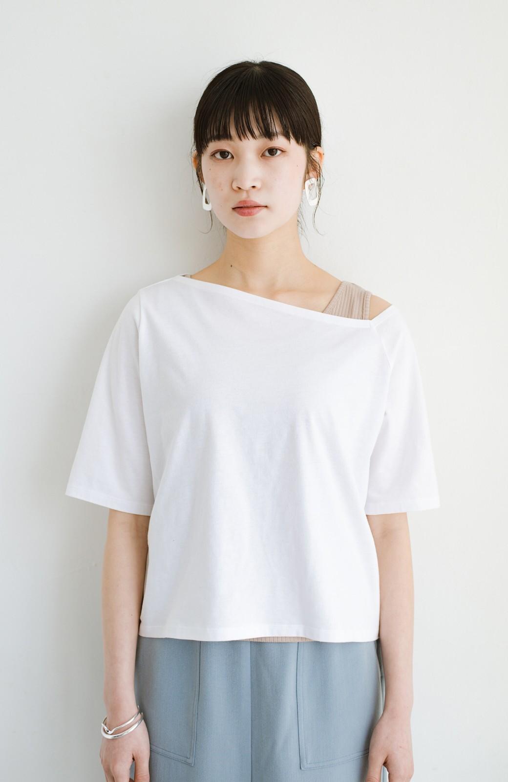 haco! 気になっていたあのデザインを取り入れやすく!こなれ衿Tシャツとタンクトップのセット <ホワイト>の商品写真13