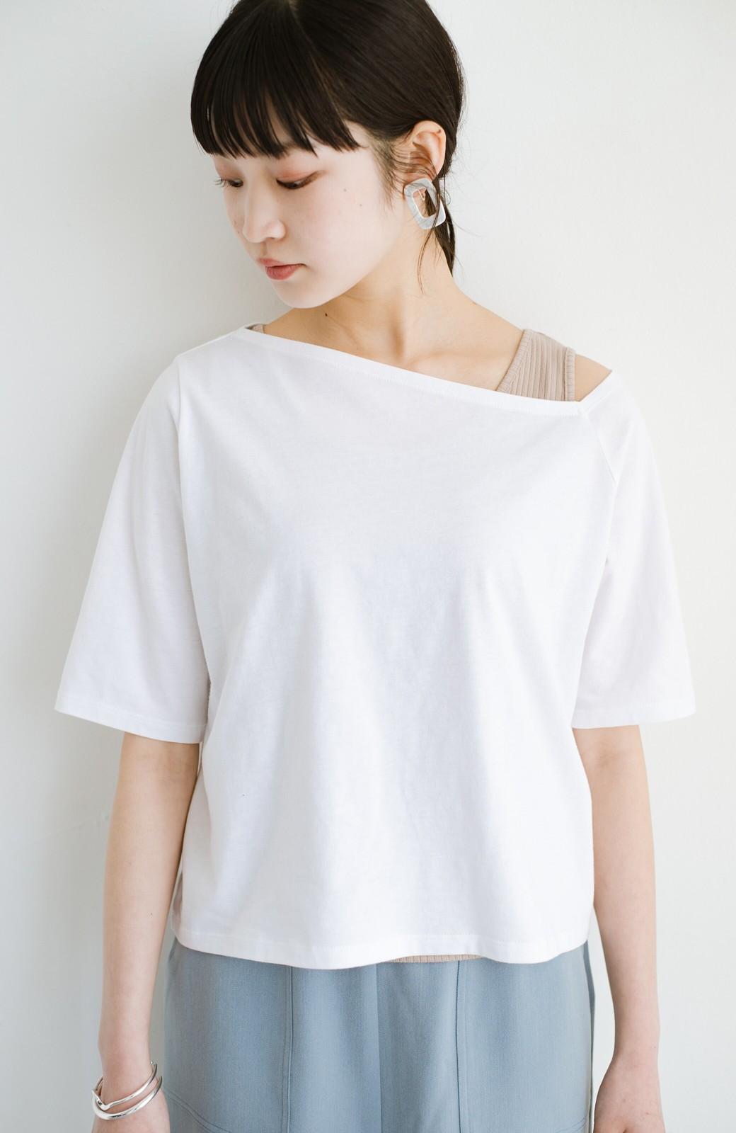 haco! 気になっていたあのデザインを取り入れやすく!こなれ衿Tシャツとタンクトップのセット <ホワイト>の商品写真1