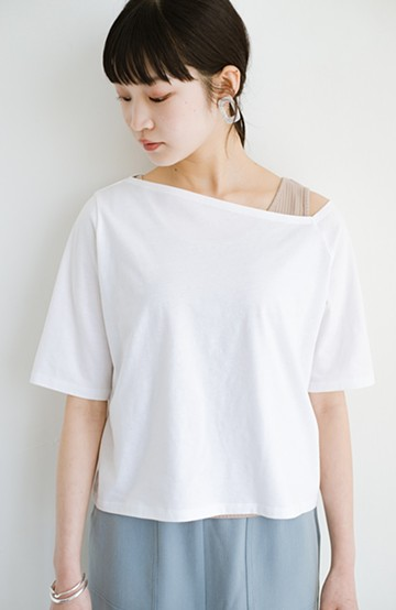 haco! 気になっていたあのデザインを取り入れやすく!こなれ衿Tシャツとタンクトップのセット <ホワイト>の商品写真
