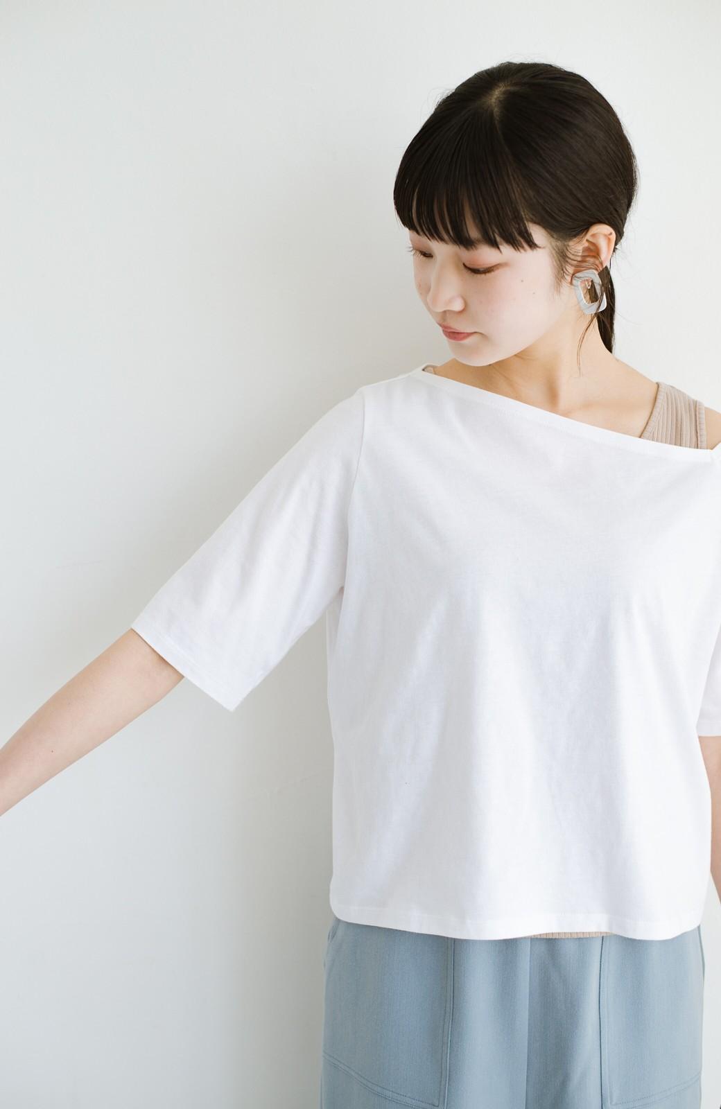haco! 気になっていたあのデザインを取り入れやすく!こなれ衿Tシャツとタンクトップのセット <ホワイト>の商品写真6