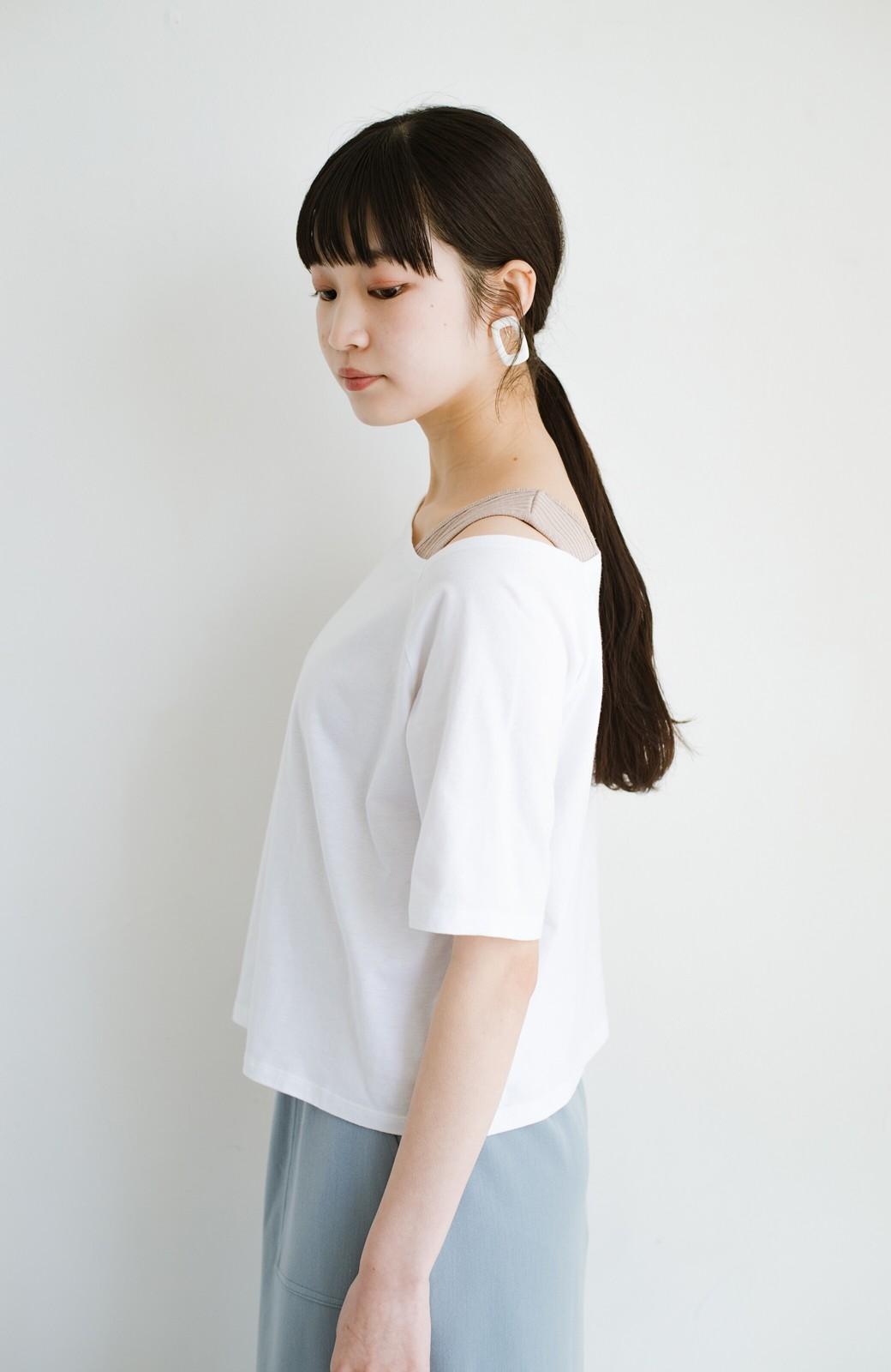 haco! 気になっていたあのデザインを取り入れやすく!こなれ衿Tシャツとタンクトップのセット <ホワイト>の商品写真14