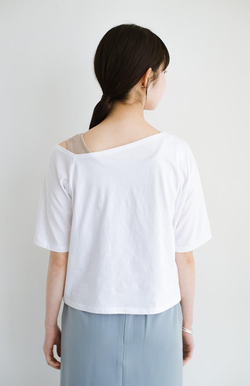 haco! 気になっていたあのデザインを取り入れやすく!こなれ衿Tシャツとタンクトップのセット <ホワイト>の商品写真15