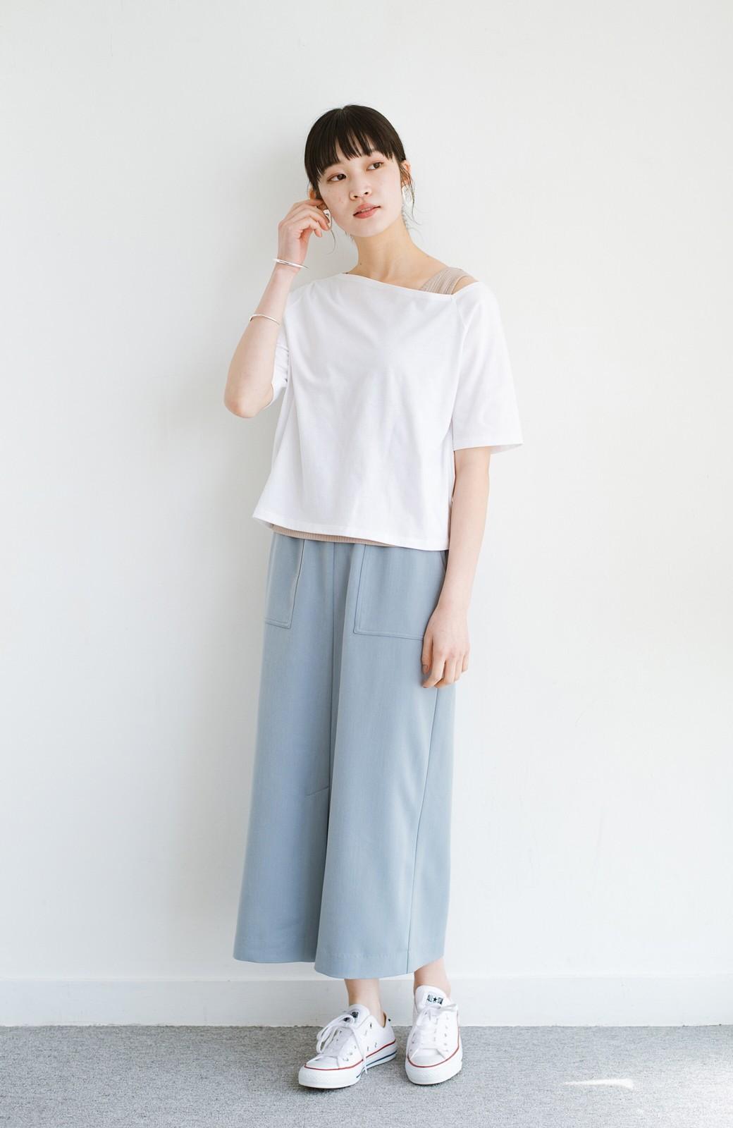 haco! 気になっていたあのデザインを取り入れやすく!こなれ衿Tシャツとタンクトップのセット <ホワイト>の商品写真9
