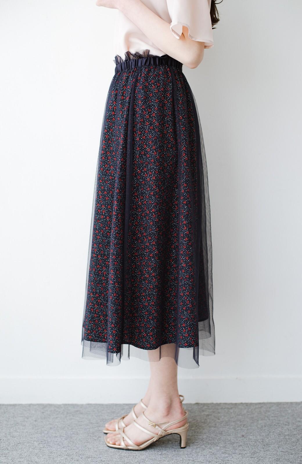 haco! 何着よう?と困った日にも元気がない日にも これさえはけば大丈夫な柄&チュール重ねスカート <ネイビー>の商品写真5