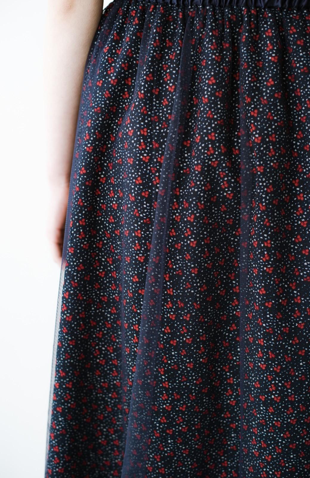 haco! 何着よう?と困った日にも元気がない日にも これさえはけば大丈夫な柄&チュール重ねスカート <ネイビー>の商品写真7