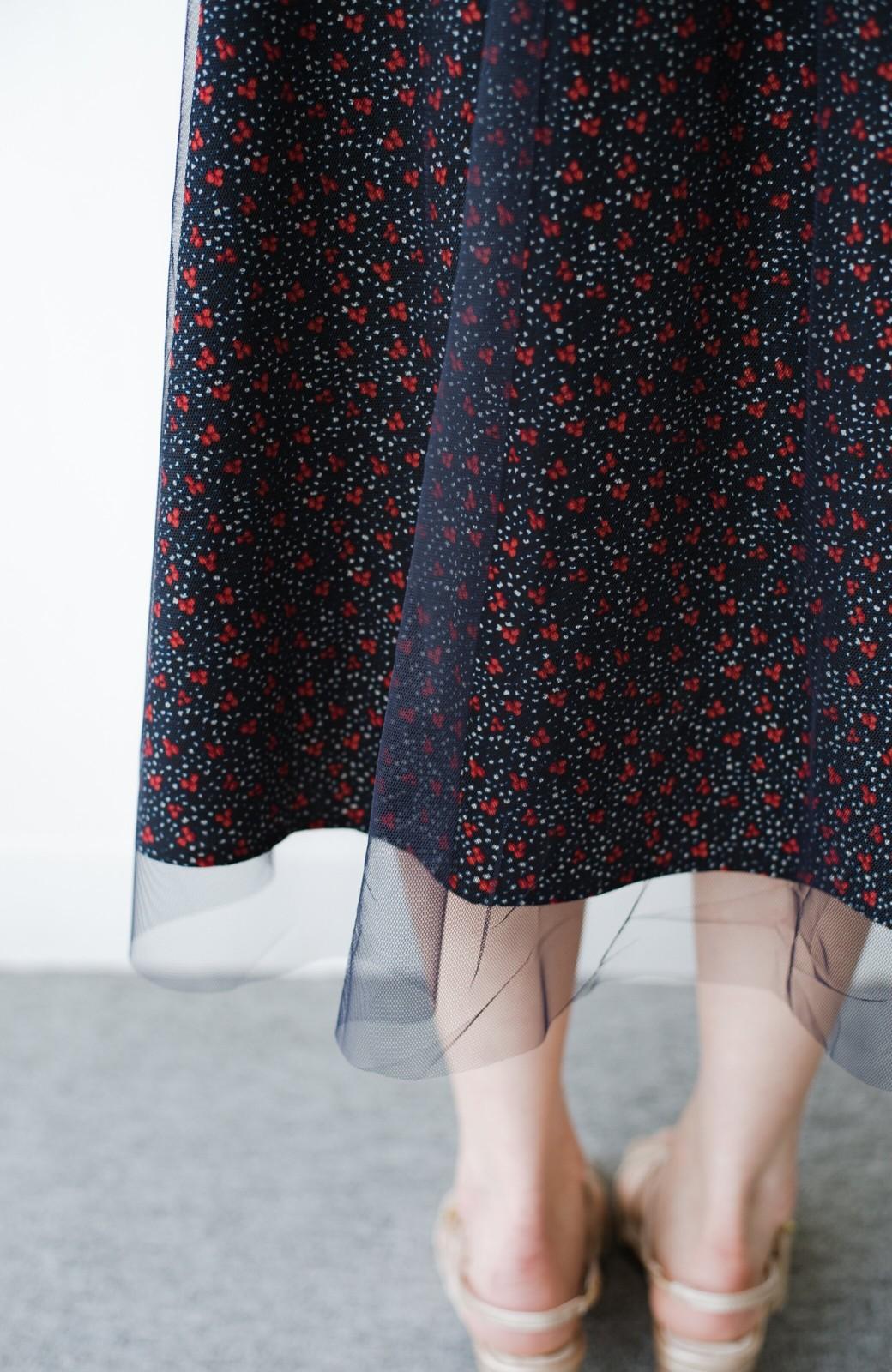 haco! 何着よう?と困った日にも元気がない日にも これさえはけば大丈夫な柄&チュール重ねスカート <ネイビー>の商品写真9