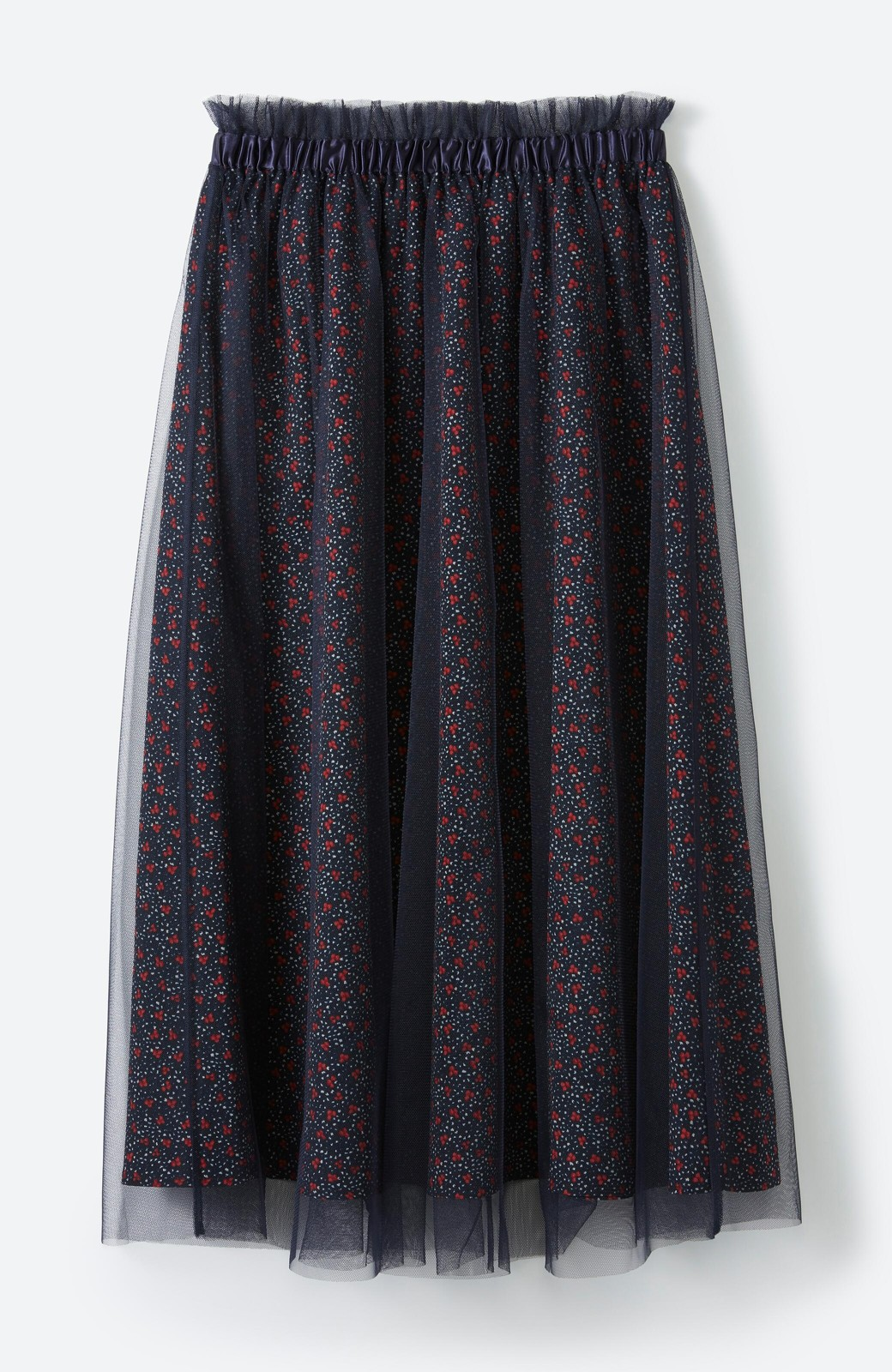 haco! 何着よう?と困った日にも元気がない日にも これさえはけば大丈夫な柄&チュール重ねスカート <ネイビー>の商品写真17