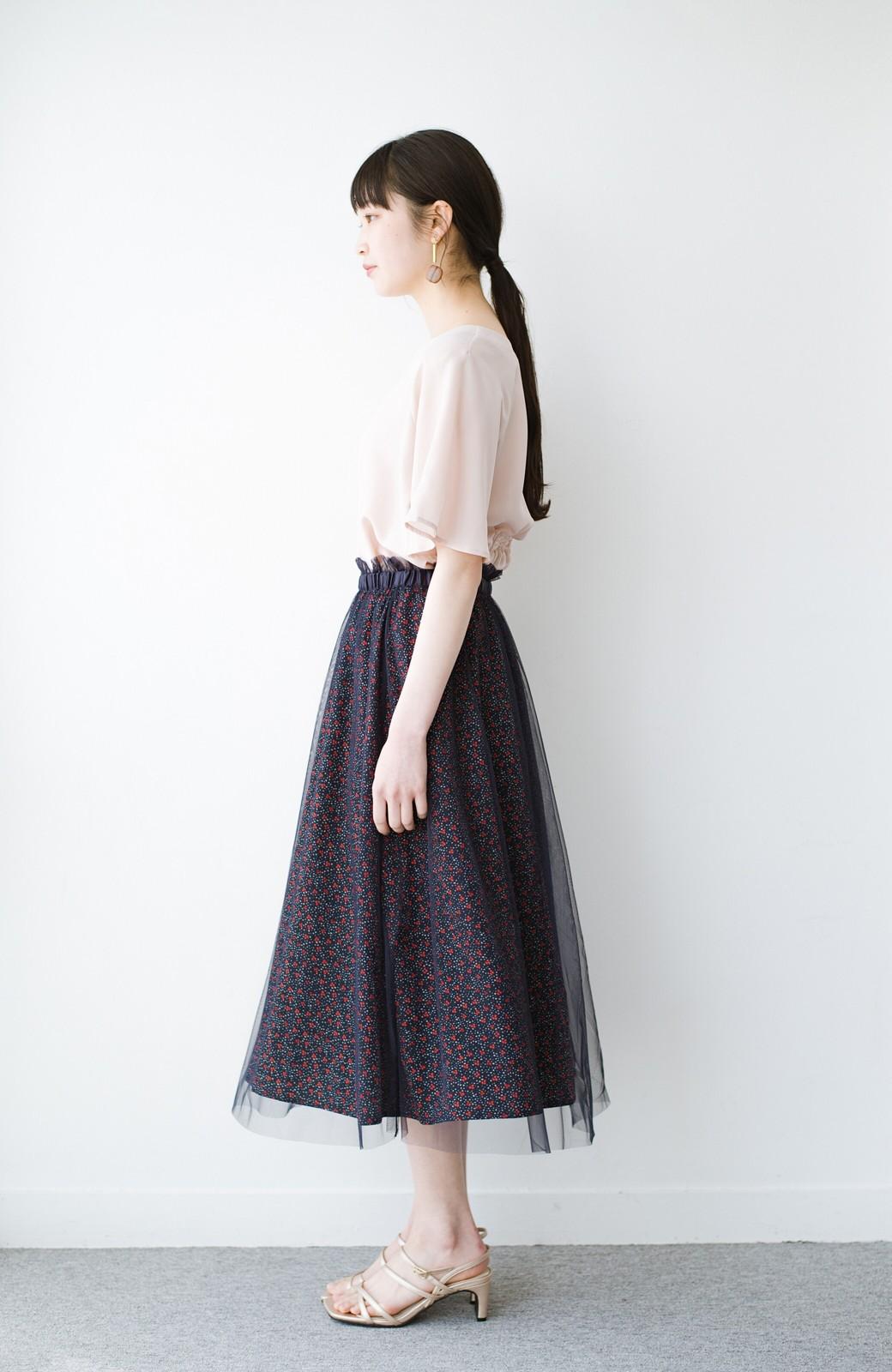 haco! 何着よう?と困った日にも元気がない日にも これさえはけば大丈夫な柄&チュール重ねスカート <ネイビー>の商品写真13