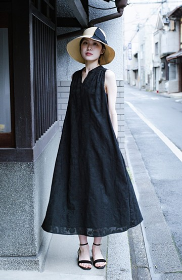 haco! 京都の浴衣屋さんと作った浴衣生地のロングワンピース <ブラック>の商品写真