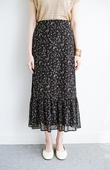 haco! ふわっと揺れる裾にきゅん!とろみシフォンの大人可愛い花柄スカート <ブラック系その他>の商品写真