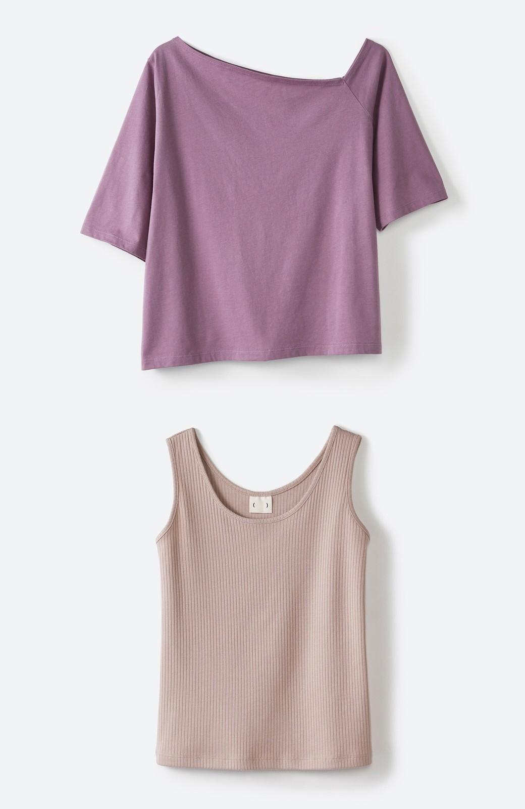 haco! 気になっていたあのデザインを取り入れやすく!こなれ衿Tシャツとタンクトップのセット <パープル>の商品写真3