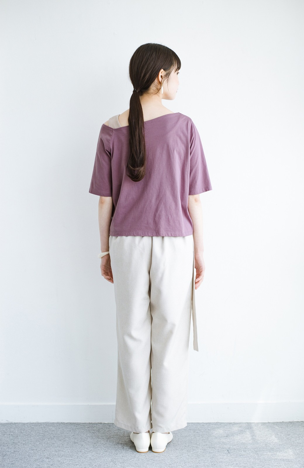haco! 気になっていたあのデザインを取り入れやすく!こなれ衿Tシャツとタンクトップのセット <パープル>の商品写真11