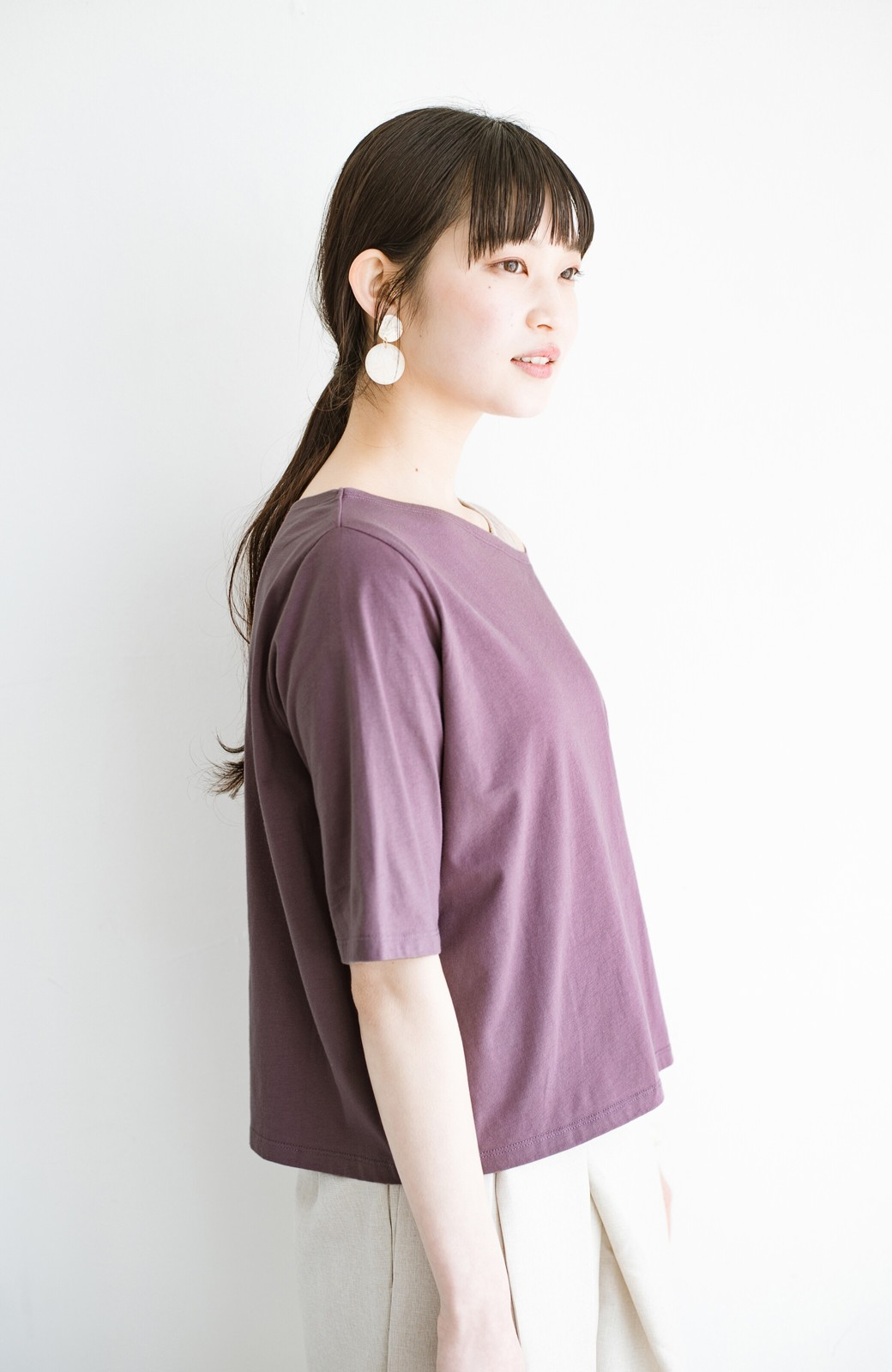 haco! 気になっていたあのデザインを取り入れやすく!こなれ衿Tシャツとタンクトップのセット <パープル>の商品写真12