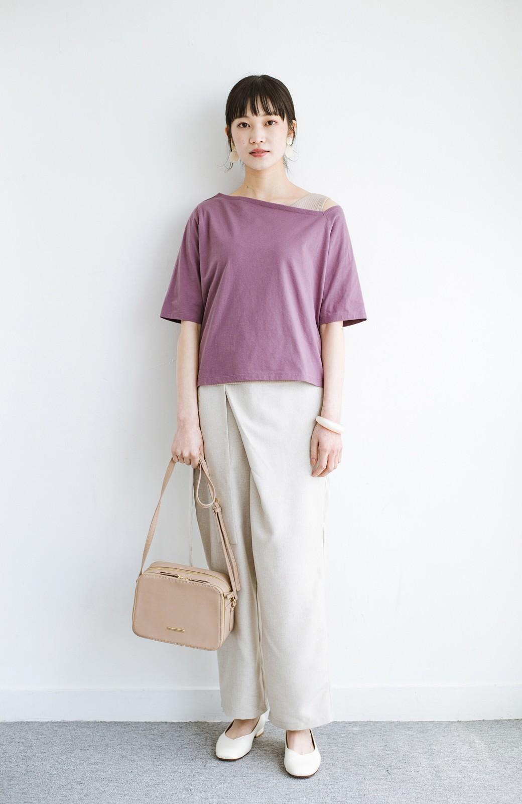 haco! 気になっていたあのデザインを取り入れやすく!こなれ衿Tシャツとタンクトップのセット <パープル>の商品写真9