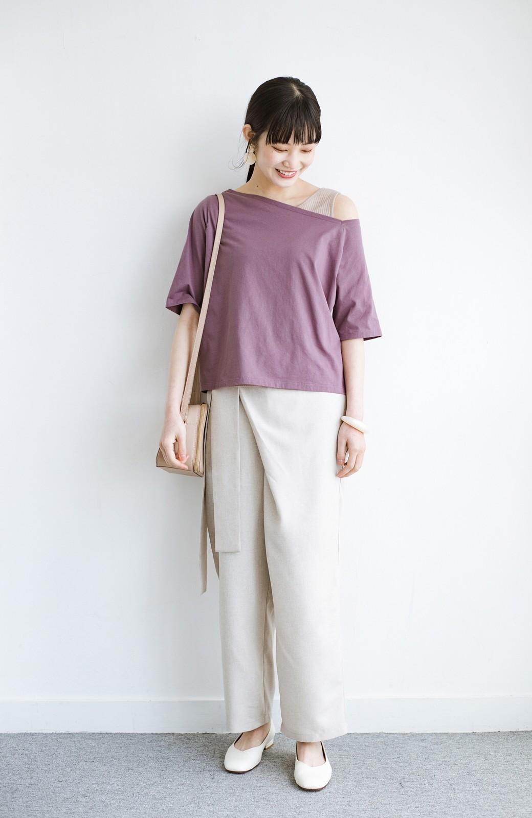 haco! 気になっていたあのデザインを取り入れやすく!こなれ衿Tシャツとタンクトップのセット <パープル>の商品写真10