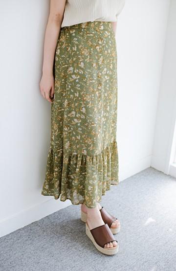 haco! ふわっと揺れる裾にきゅん!とろみシフォンの大人可愛い花柄スカート <グリーン系その他>の商品写真