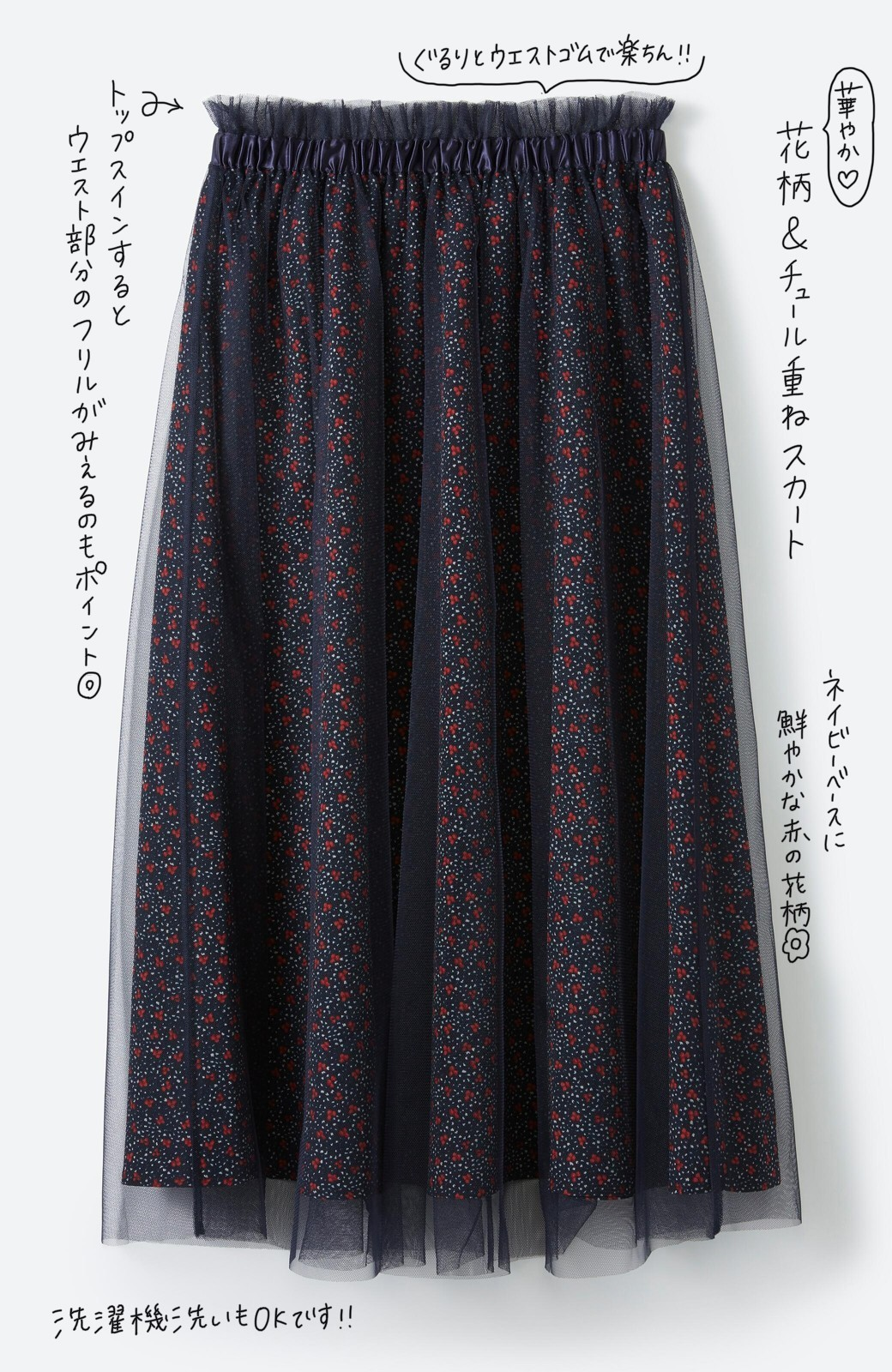 haco! 何着よう?と困った日にも元気がない日にも これさえはけば大丈夫な柄&チュール重ねスカート <ネイビー>の商品写真2