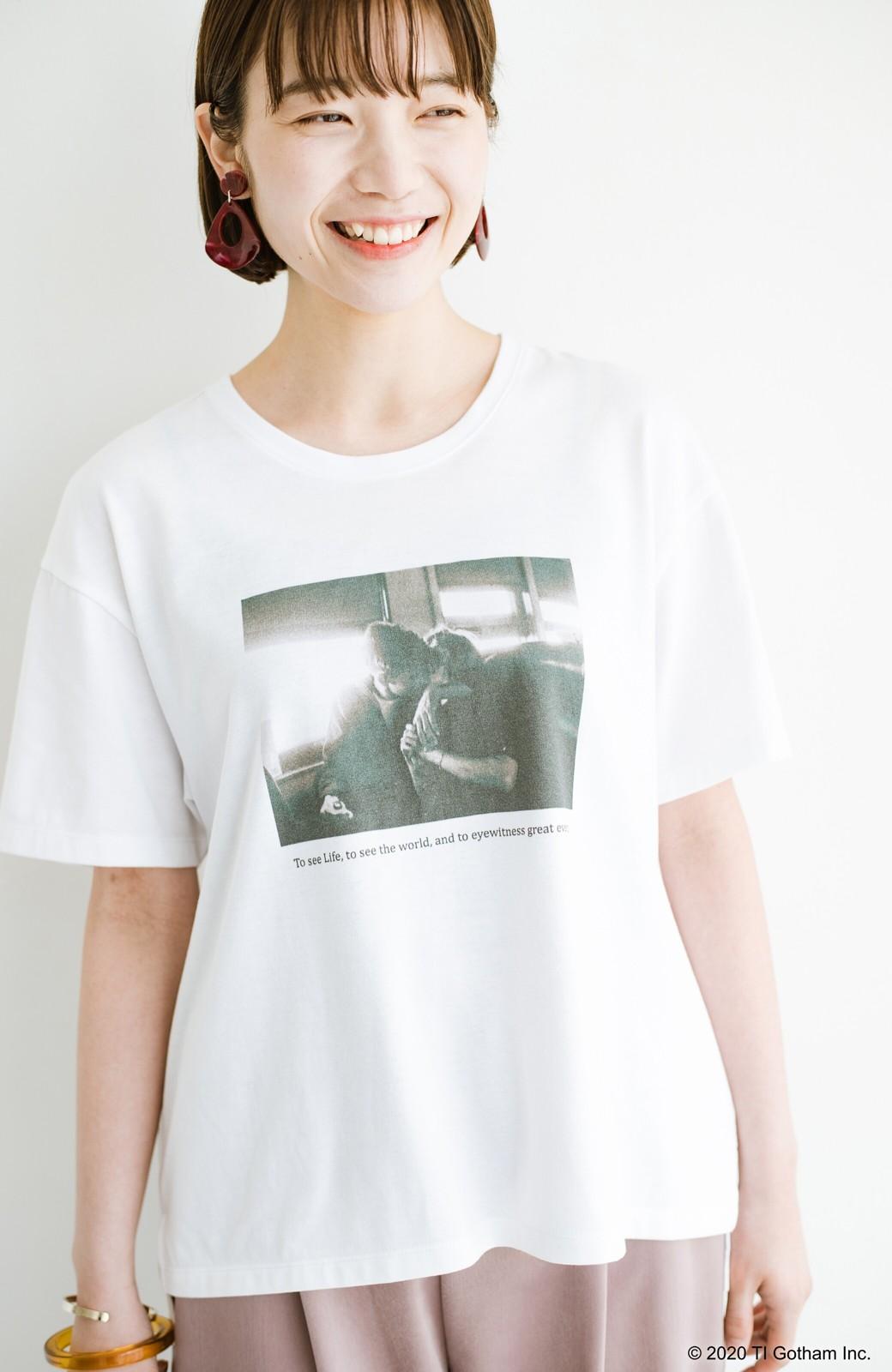 haco! フォトマガジン「LIFE」コラボ 大人のためのしなやかフォトプリントTシャツ <ホワイト>の商品写真1