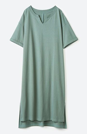 haco! キーネックがさり気なく女っぽい 重ね着にも便利なビッグTシャツワンピース <カーキ>の商品写真
