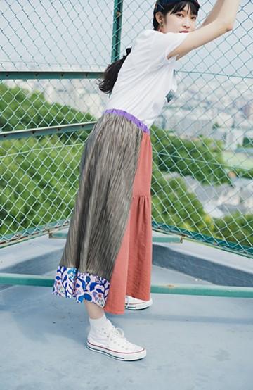 haco! haco! × RBTXCOボタニカル柄で気分盛り上げ!キュンとくる可愛さのプリーツ&ギャザースカート <スモークピンク>の商品写真