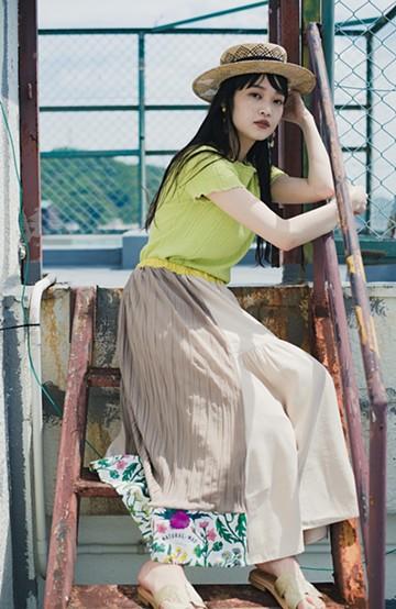 haco! haco! × RBTXCOボタニカル柄で気分盛り上げ!キュンとくる可愛さのプリーツ&ギャザースカート <ライトベージュ>の商品写真