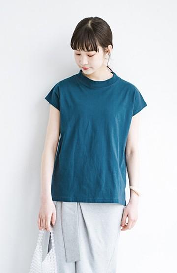 haco! 迷ったらコレ!でおしゃれに見える いくつあっても便利な定番ハイネックTシャツ <ブルー>の商品写真