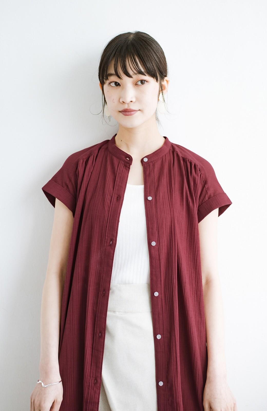 haco! バレずにとことん楽できる 羽織りとしても使える軽やかシャツワンピース <レッド>の商品写真6