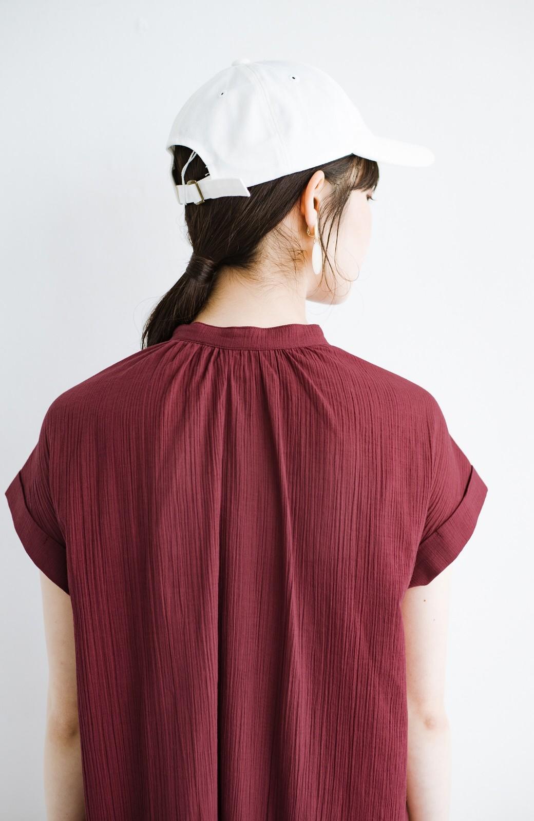 haco! バレずにとことん楽できる 羽織りとしても使える軽やかシャツワンピース <レッド>の商品写真8
