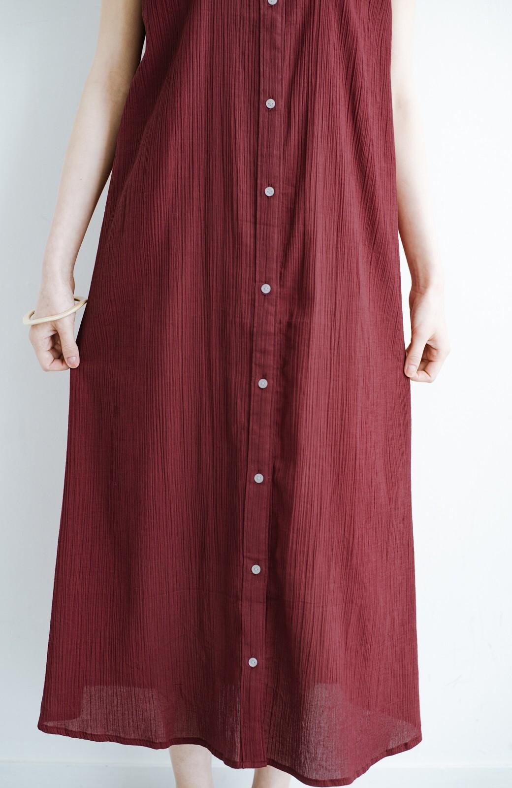 haco! バレずにとことん楽できる 羽織りとしても使える軽やかシャツワンピース <レッド>の商品写真10