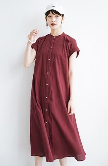 haco! バレずにとことん楽できる 羽織りとしても使える軽やかシャツワンピース <レッド>の商品写真