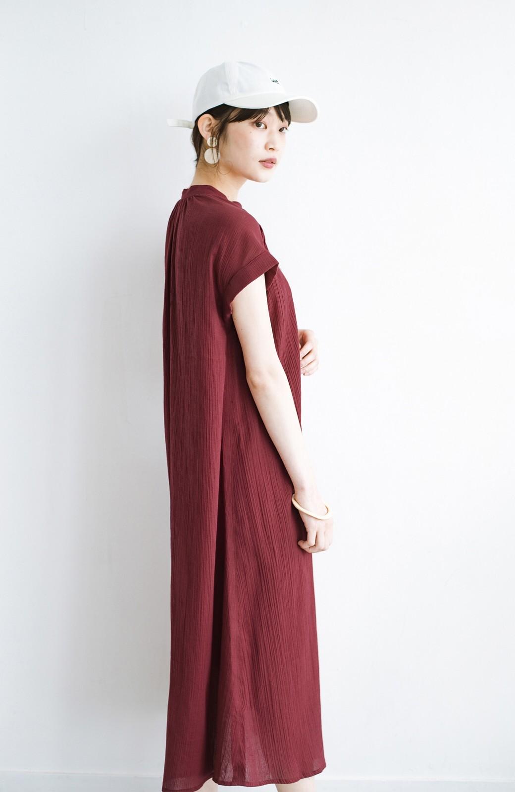 haco! バレずにとことん楽できる 羽織りとしても使える軽やかシャツワンピース <レッド>の商品写真19