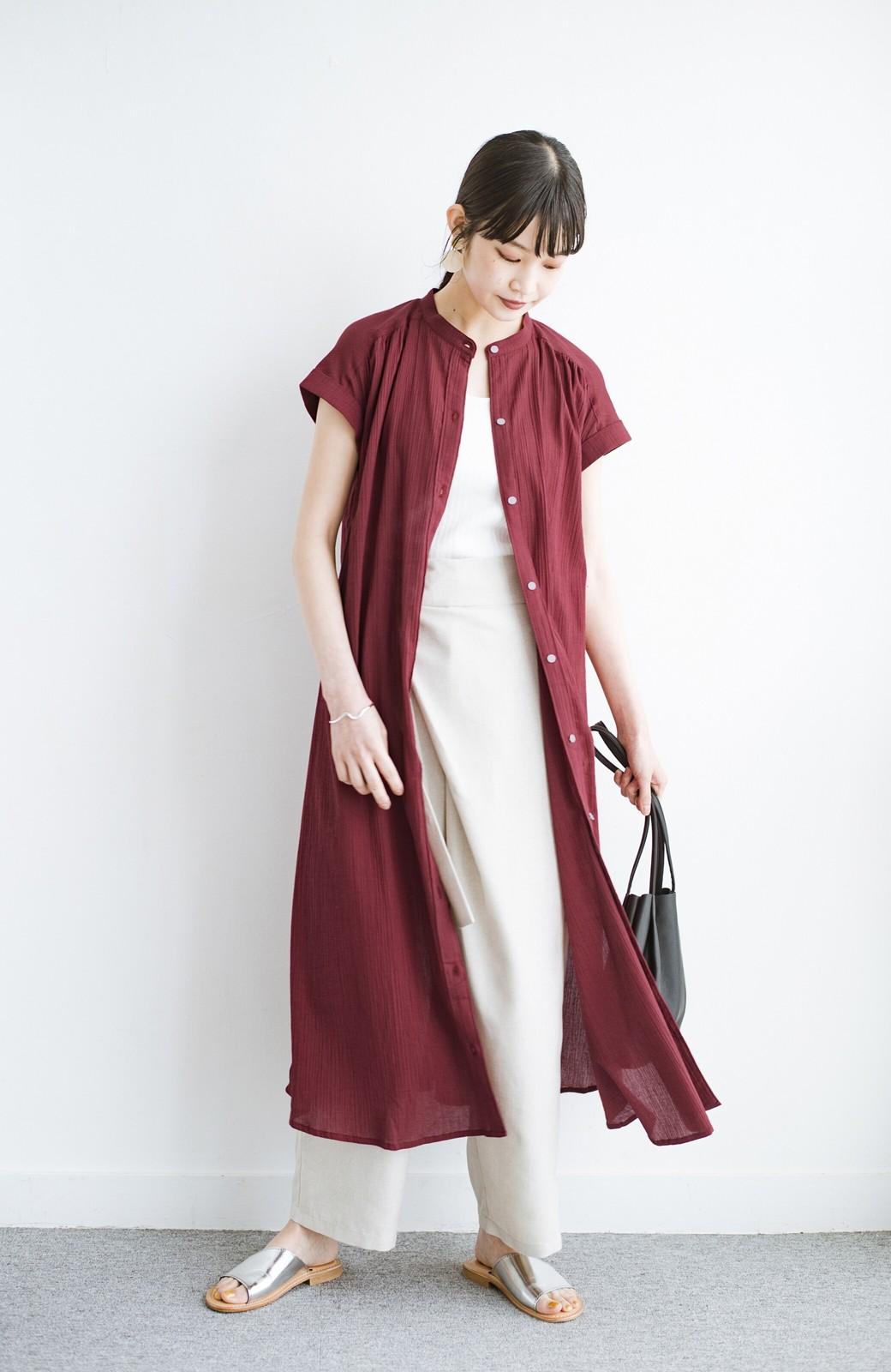 haco! バレずにとことん楽できる 羽織りとしても使える軽やかシャツワンピース <レッド>の商品写真18