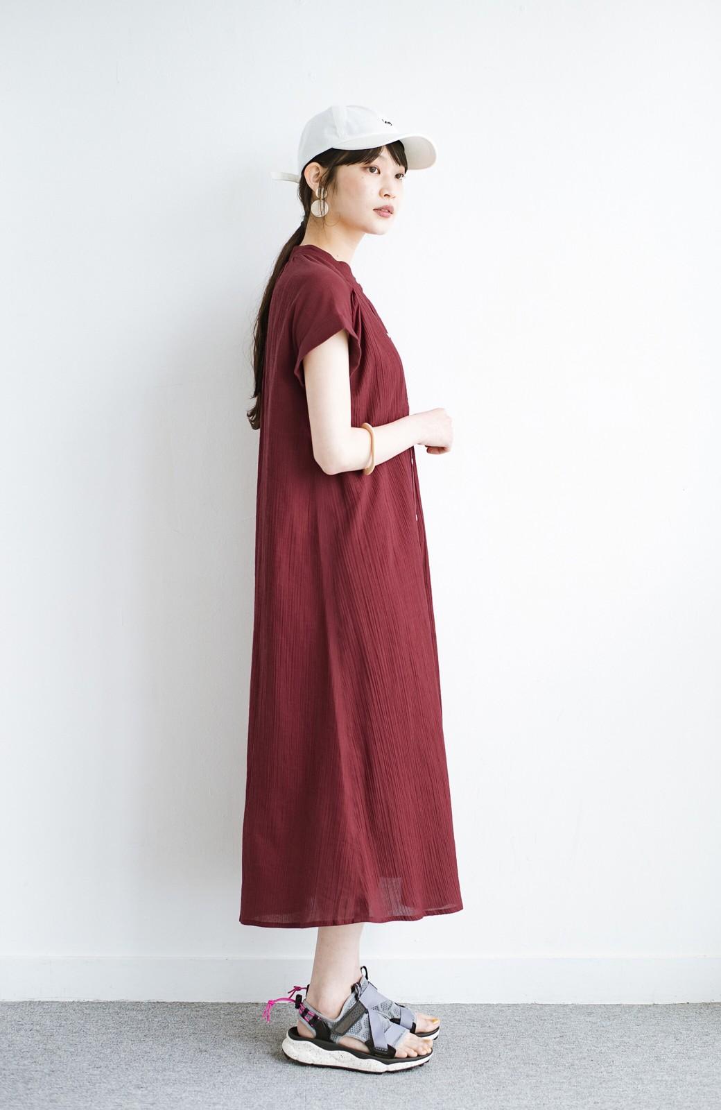 haco! バレずにとことん楽できる 羽織りとしても使える軽やかシャツワンピース <レッド>の商品写真14