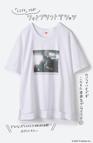 haco! フォトマガジン「LIFE」コラボ 大人のためのしなやかフォトプリントTシャツ <ホワイト>の商品写真