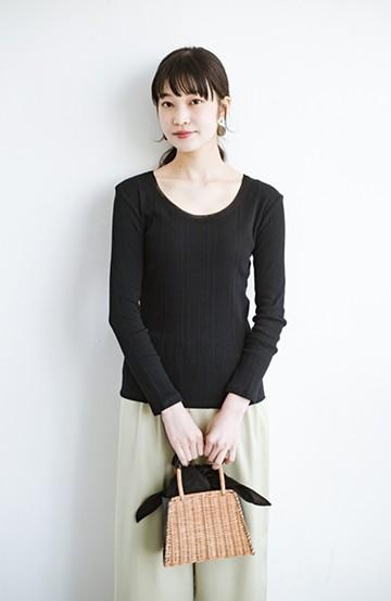 haco! チュールポイントが女っぽい 便利なUネックカットソートップス <ブラック>の商品写真